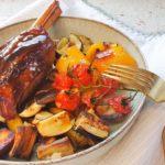 Miel aromat în sos de rodie și legume coapte