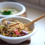 Broth and vegetables with Chinese noodles